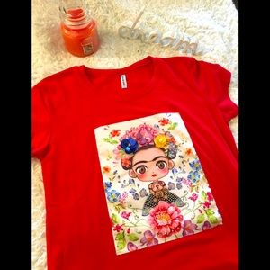 Red women blouse with beautiful picture